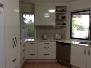 Couples New white Kitchen on the Sunshine Coast