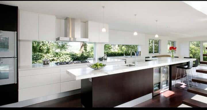 White Kitchen Brown Trim Windows