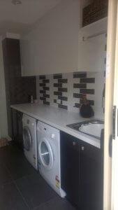 Laundry Renovation - White and Brown colour scheme - Sunshine Coast